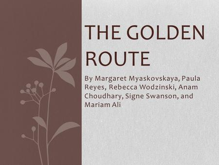 By Margaret Myaskovskaya, Paula Reyes, Rebecca Wodzinski, Anam Choudhary, Signe Swanson, and Mariam Ali THE GOLDEN ROUTE.