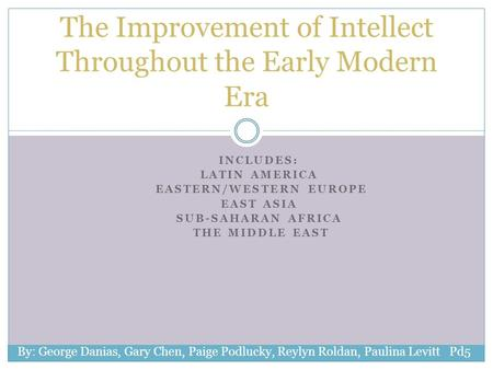 INCLUDES: LATIN AMERICA EASTERN/WESTERN EUROPE EAST ASIA SUB-SAHARAN AFRICA THE MIDDLE EAST The Improvement of Intellect Throughout the Early Modern Era.