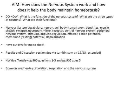AIM: How does the Nervous System work and how does it help the body maintain homeostasis? DO NOW: What is the function of the nervous system? What are.