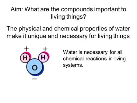 Aim: What are the compounds important to living things? The physical and chemical properties of water make it unique and necessary for living things Water.