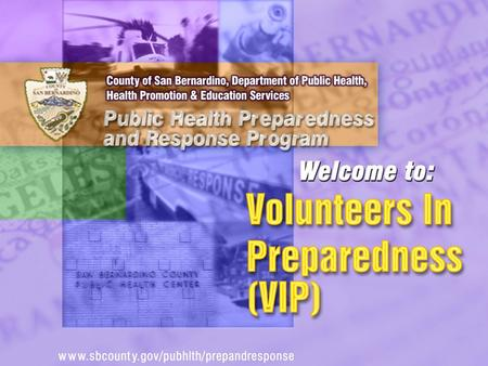 We will discuss the… Role of Public Health in an Emergency Role of a Community Partner (VIP) Benefits of Creating a Partnership.