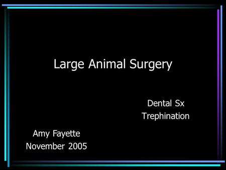 Large Animal Surgery Dental Sx Trephination Amy Fayette November 2005.