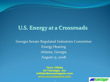 1 Georgia Senate Regulated Industries Committee Energy Hearing Atlanta, Georgia August 13, 2008 Terry Ciliske En*Vantage, Inc