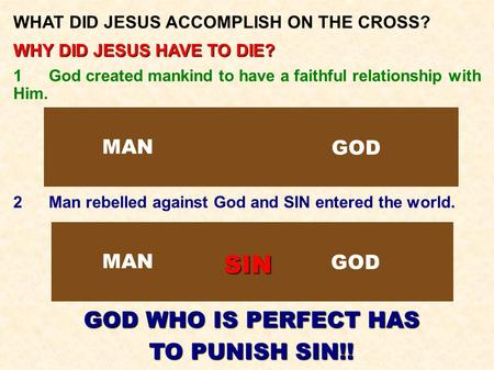 WHAT DID JESUS ACCOMPLISH ON THE CROSS? WHY DID JESUS HAVE TO DIE? 1God created mankind to have a faithful relationship with Him. 2Man rebelled against.