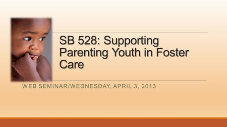 SB 528: Supporting Parenting Youth in Foster Care WEB SEMINAR/WEDNESDAY, APRIL 3, 2013.