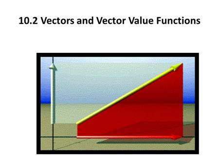 10.2 Vectors and Vector Value Functions