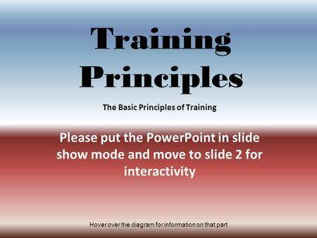Hover over the diagram for information on that part Training Principles The Basic Principles of Training Please put the PowerPoint in slide show mode and.