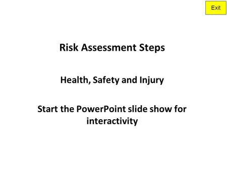 Risk Assessment Steps Health, Safety and Injury
