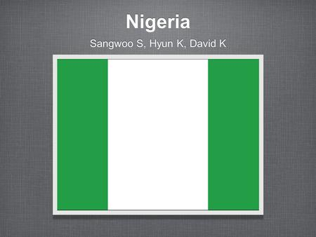 Nigeria Sangwoo S, Hyun K, David K. Where is Nigeria? BENIN NIGER CAMEROON.
