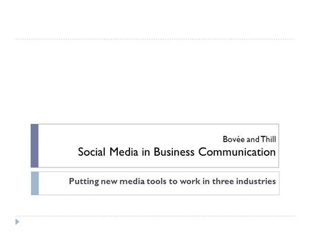 Bovée and Thill Social Media in Business Communication Putting new media tools to work in three industries.