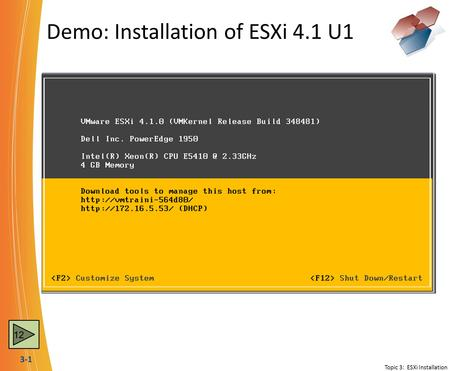 3-1 Demo: Installation of ESXi 4.1 U1 Topic 3: ESXi Installation 12.
