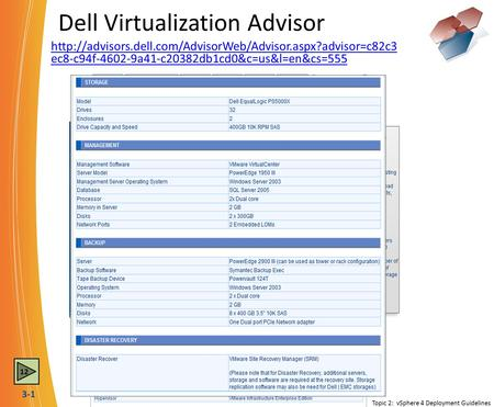 3-1 Dell Virtualization Advisor  ec8-c94f-4602-9a41-c20382db1cd0&c=us&l=en&cs=555 Topic 2: