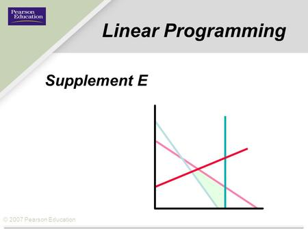 © 2007 Pearson Education Linear Programming Supplement E.