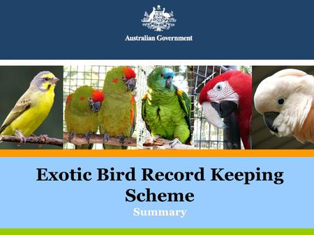 Mmary Exotic Bird Record Keeping Scheme Summary. In the beginning….. Illegal trade increased since the closure of NEBRS? Promoting confidence in the legal.