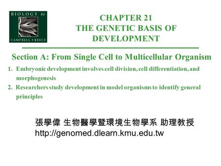 CHAPTER 21 THE GENETIC BASIS OF DEVELOPMENT Section A: From Single Cell to Multicellular Organism 1.Embryonic development involves cell division, cell.
