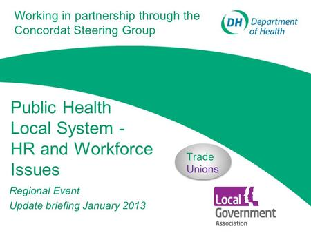 Public Health Local System - HR and Workforce Issues Regional Event Update briefing January 2013 Trade Unions Working in partnership through the Concordat.