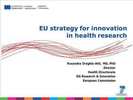 1 EU strategy for innovation in health research Ruxandra Draghia-Akli, MD, PhD Director Health Directorate DG Research & Innovation European Commission.