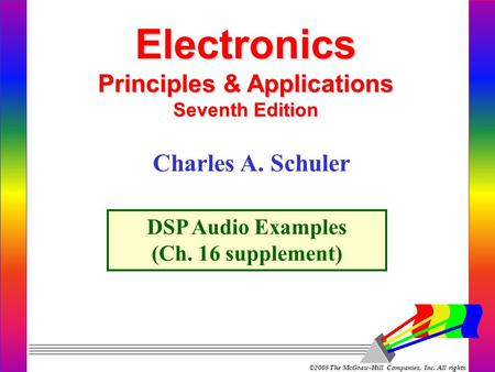 ©2008 The McGraw-Hill Companies, Inc. All rights reserved. Electronics Principles & Applications Seventh Edition DSP Audio Examples (Ch. 16 supplement)