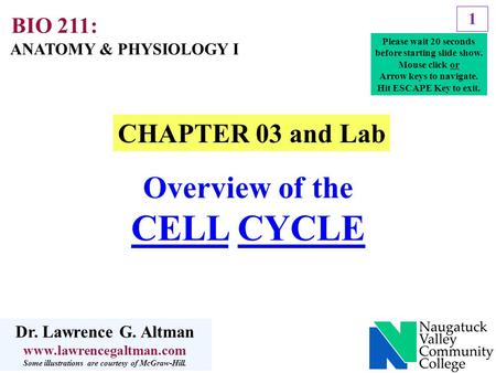 1 CHAPTER 03 and Lab Overview of the CELL CYCLE ANATOMY & PHYSIOLOGY I BIO 211: Dr. Lawrence G. Altman www.lawrencegaltman.com Some illustrations are courtesy.