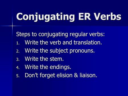 Conjugating ER Verbs Steps to conjugating regular verbs: 1. Write the verb and translation. 2. Write the subject pronouns. 3. Write the stem. 4. Write.