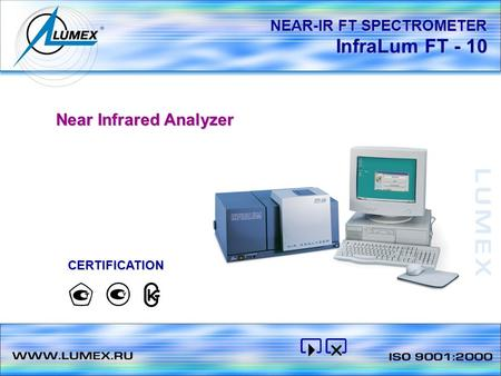 InfraLum FT - 10 NEAR-IR FT SPECTROMETER Near Infrared Analyzer CERTIFICATION.
