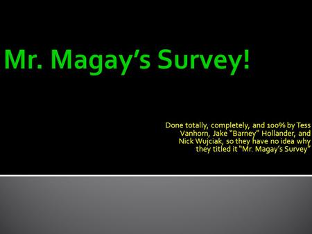 "Done totally, completely, and 100% by Tess Vanhorn, Jake ""Barney"" Hollander, and Nick Wujciak, so they have no idea why they titled it ""Mr. Magay's Survey"""