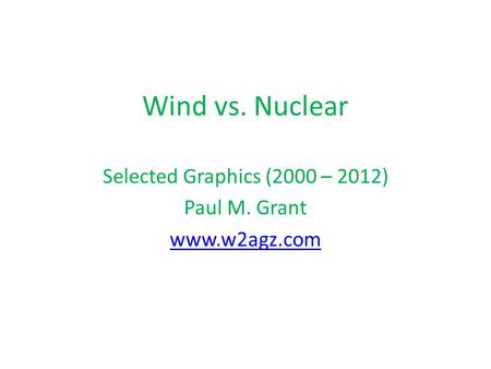 Wind vs. Nuclear Selected Graphics (2000 – 2012) Paul M. Grant www.w2agz.com.