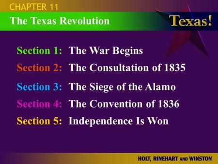 Section 1:The War Begins Section 2:The Consultation of 1835 Section 3:The Siege of the Alamo Section 4:The Convention of 1836 Section 5:Independence Is.