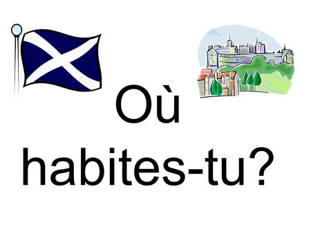 Où habites-tu?. When you want to say in French what country you live in you use either: J'habite en… or J'habite au…