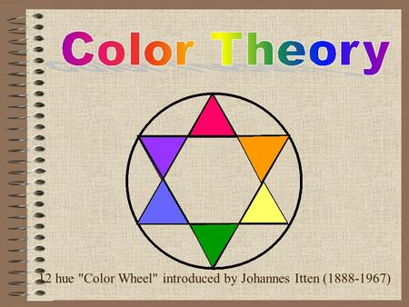 12 hue Color Wheel introduced by Johannes Itten (1888-1967)
