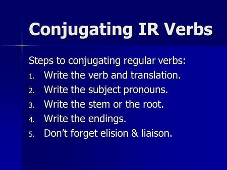 Conjugating IR Verbs Steps to conjugating regular verbs: 1. Write the verb and translation. 2. Write the subject pronouns. 3. Write the stem or the root.