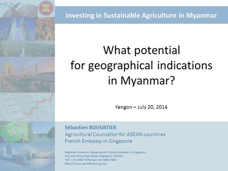Investing in Sustainable Agriculture in Myanmar What potential for geographical indications in Myanmar? Sébastien BOUVATIER Agricultural Counsellor for.