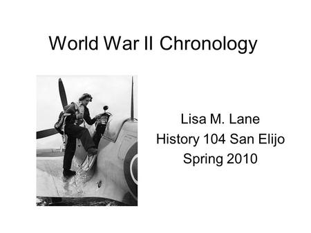 World War II Chronology
