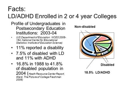 Facts: LD/ADHD Enrolled in 2 or 4 year Colleges Profile of Undergraduates in Postsecondary Education Institutions: 2003-04 (US Department of Education: