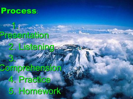1 Process : Process : 1. Presentation 1. Presentation 2. Listening 2. Listening 3. Comprehension 3. Comprehension 4. Practice 4. Practice 5. Homework.