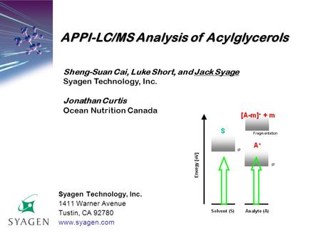 Syagen Technology, Inc. 1411 Warner Avenue Tustin, CA 92780 www.syagen.com APPI-LC/MS Analysis of Acylglycerols Sheng-Suan Cai, Luke Short, and Jack Syage.