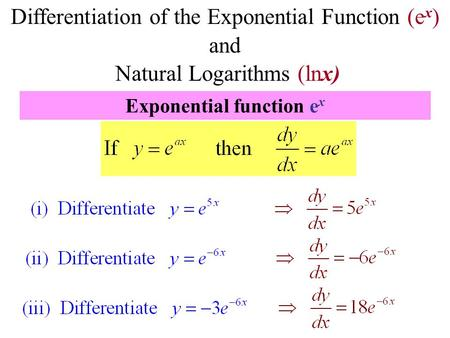 Differentiation of the Exponential Function (e x ) and Natural Logarithms (lnx) Exponential function e x.