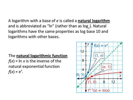 "A logarithm with a base of e is called a natural logarithm and is abbreviated as ""ln"" (rather than as log e ). Natural logarithms have the same properties."