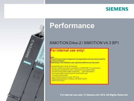 SIMOTION D4xx-2 / SIMOTION V4.3 SP1