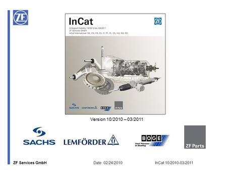 ZF Services GmbH Date: 02/24/2010 InCat 10/2010-03/2011 Version 10/2010 – 03/2011.