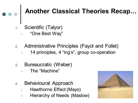 "Another Classical Theories Recap… 1. Scientific (Talyor)  ""One Best Way"" 2. Administrative Principles (Fayol and Follet)  14 principles, 4 ""ing's"", group."