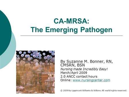 CA-MRSA: The Emerging Pathogen