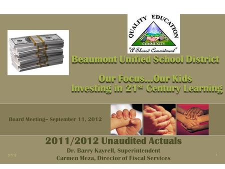 Beaumont Unified School District Our Focus…Our Kids Investing in 21 st Century Learning 2011/2012 Unaudited Actuals Dr. Barry Kayrell, Superintendent Carmen.