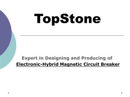 11 TopStone Expert in Designing and Producing of Electronic-Hybrid Magnetic Circuit Breaker.