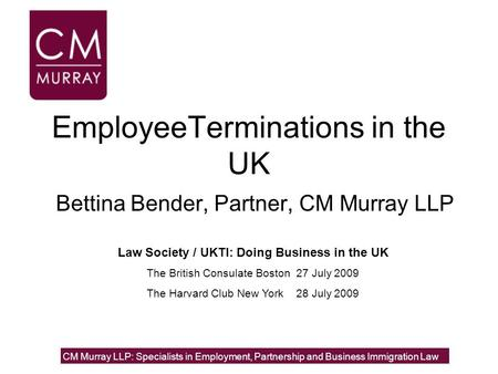 EmployeeTerminations in the UK