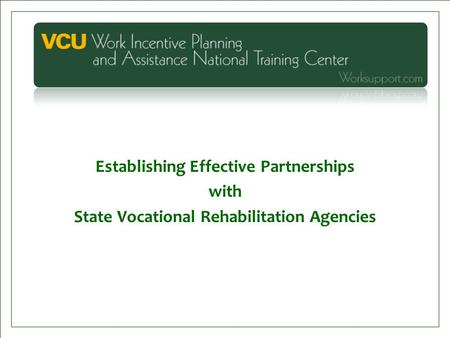 Establishing Effective Partnerships with State Vocational Rehabilitation Agencies.