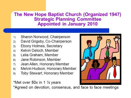 The New Hope Baptist Church (Organized 1947) Strategic Planning Committee Appointed in January 2010 1) Sharon Norwood, Chairperson 2) David Grigsby, Co-Chairperson.