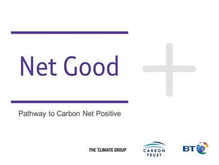 Better Future 1 Net Good Pathway to Carbon Net Positive.