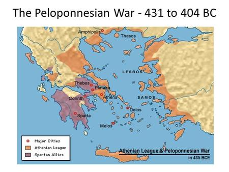 The Peloponnesian War - 431 to 404 BC. 465 BC: Athenians aid rebellious Spartan helots 465 BC: helot revolt broke out in Sparta. Athens (then an ally)