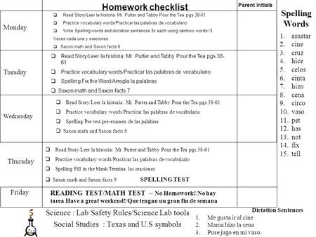 Science : Lab Safety Rules/Science Lab tools Social Studies : Texas and U.S symbols  Read Story/Leer la historia: Mr. Putter and Tabby Pour the Tea pgs.38-61.